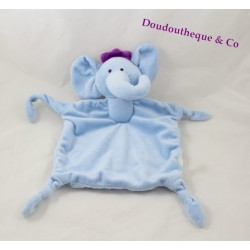 Doudou flat elephant Luke and Léa SABILUC blue violet Crown 4 knots 40 cm