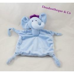 Doudou plat éléphant Luc et Léa SABILUC bleu violet couronne 4 noeuds 40 cm