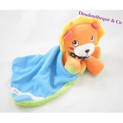 Doudou Lion orange jaune NICOTOY mouchoir vert et bleu pois blanc