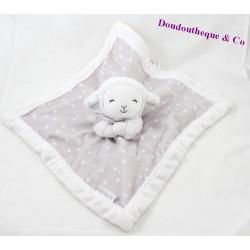 Doudou plat mouton CARTER'S étoiles gris blanc 35 cm