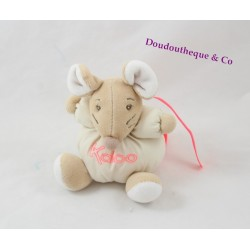 Mini doudou souris KALOO Winter Folies beige rose fluo 13 cm