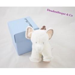 Peluche doudou Elephant TARTINE ET CHOCOLAT 12 cm Ferdinand écru