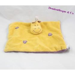 Doudou plat girafe INFLUX jaune coeur violet 25 cm