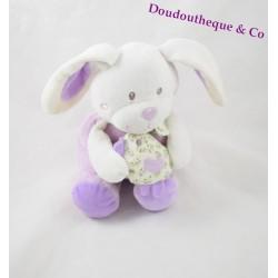 Doudou musical TEX BABY rabbit with his chicken 27cm purple bird
