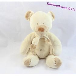 Doudou ours NICOTOY croix brodées beige marron 25 cm