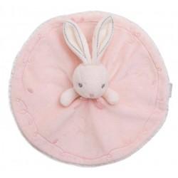 Doudou rabbit KALOO round rose Perle embroidery stitching gray 26 cm