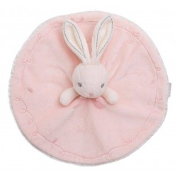 Doudou lapin KALOO rond rose Perle broderie coutures grises 26 cm