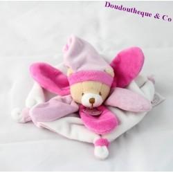 Mini doudou plat ours DOUDOU ET COMPAGNIE Collector pétale rose DC2790 16 cm