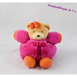 Doudou boule ours KALOO Ethnic signe chinois rose violet 17 cm