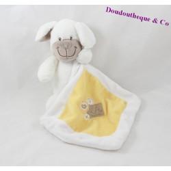 Doudou mouchoir chien NICOTOY blanc jaune 22 cm