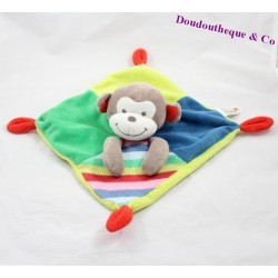 Flat Doudou monkey NICOTOY Woodstock green blue multicolored striped wool