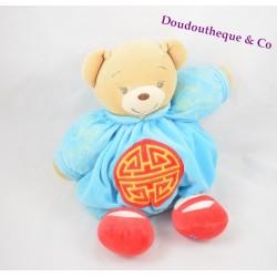 Peluche doudou Ours KALOO chinois motif dragon bleu cercle rouge