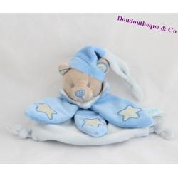 Doudou plat ours BABY NAT' Luminescent bleu étoile BN662 18 cm