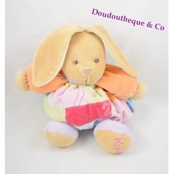 Peluche doudou Lapin KALOO 1 2 3 violet rose bras orange 25 cm