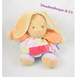 Peluche lapin KALOO 1 2 3 violet rose bras orange 25 cm