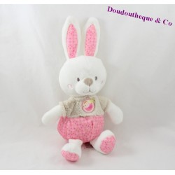 Plush rabbit MOTS D'ENFANTS pink gray bird