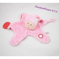 Doudou plat Fille KIKOU lutin rose anneau dentition mirroir rose
