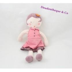 Doudou poupée fille MARESE rose prune 28 cm