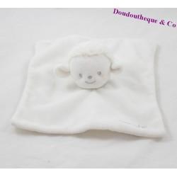 Doudou plat mouton KIMBALOO Brioche carré blanc La Halle 20 cm
