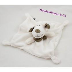 Doudou plat mouton TEX BABY blanc bandana gris 20 cm