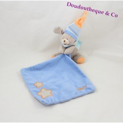Doudou mouchoir chien BABY NAT' Luminescent bleu orange étoile 23 cm