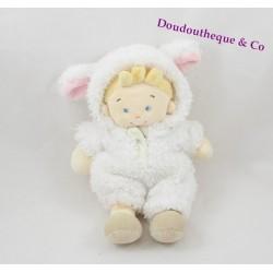 Doudou garçon NICOTOY déguisé en mouton blanc 24 cm