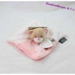Doudou plat ours TOM & ZOE rose blanc étoile 19 cm