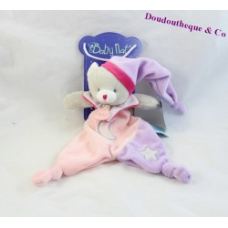 Doudou plat chat BABY NAT Les Luminescents étoile lune rose violet 25 cm