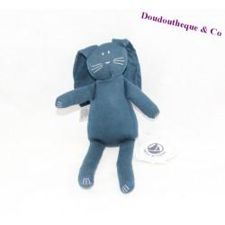 Doudou lapin PETIT BATEAU bleu foncé 24 cm