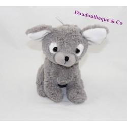 Peluche chien ETAM doudou gris blanc 20 cm