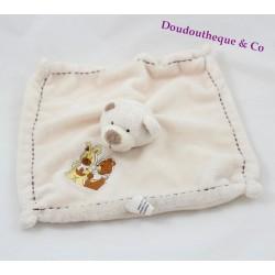 Doudou plat ours MAXITA blanc crème carré lapin ours 25 cm
