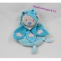 Doudou plat ours BABY NAT' Les Luminescents bleu étoiles 25 cm