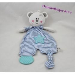 Doudou plat ours MAXITA bleu rayé blan étoile 32 cm