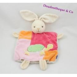 Doudou marionnette lapin KALOO tortue Pop 1 2 3 roange rose 26 cm