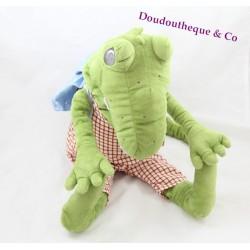 Peluche crocodile IKEA salopette carreaux sac à dos bleu 50 cm