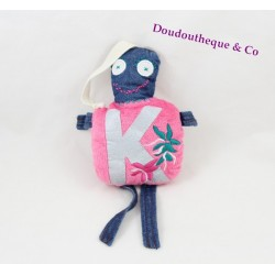 Doudou double face monstre IKKS rose bleu jean broderie fleurs