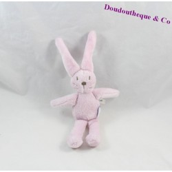 Doudou rabbit embroidered pink JACADI Brown 17 cm
