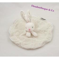 Doudou plat lapin KALOO rond blanc Perle broderie coutures grises 26 cm