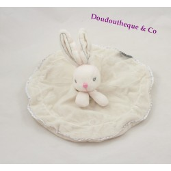 Doudou plat lapin KALOO rond blanc Perle broderie coutures grises 26 cm