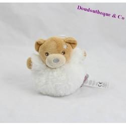 Mini doudou ours boule de Noel KALOO fourrure Fur blanc étoile gris 11 cm