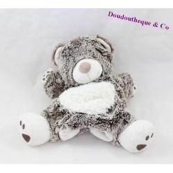 Doudou marionnette ours TEX BABY gris blanc Carrefour 24 cm