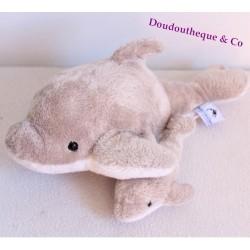 Peluche dauphin MARINELAND gris et son bébé 30 cm
