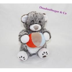 Peluche musicale ours TEX BABY chiné blanc marron ballon Carrefour 22 cm