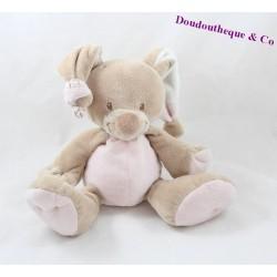 Rabbit soft toy NATTOU Rigolos pink beige