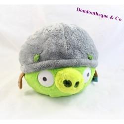 Peluche balle cochon TCC Angry Birds vert avec son casque 22 cm