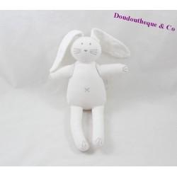 Doudou lapin PETIT BATEAU blanc gris 24 cm