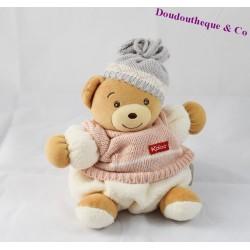Doudou boule ours KALOO pull bonnet laine 18 cm