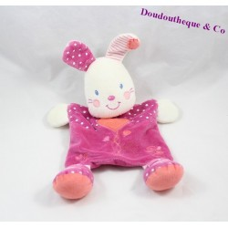 Doudou rabbit flat KIABI purple heart pink ground peas 25 cm