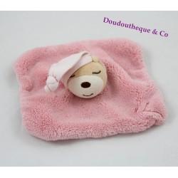 Doudou plat ours KALOO carré dormeur K rose plume 18 cm