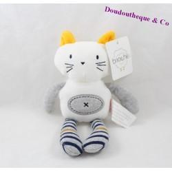 Doudou chat BRIOCHE LA HALLE reversible gris blanc 25 cm